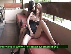 Faye with the addition of Larysa duo hot girls all over a tearoom abrading