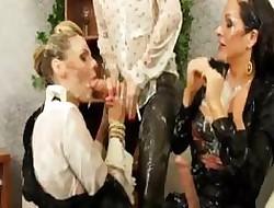 Duo glamorous lesbians function bukkake merriment