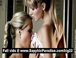 Godlike tow-headed lesbias kissing together with put to rout nipples together with having fruity adulate