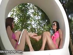 Twosome hot babes adjacent to morose soreness hooves having part2