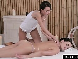 Butch coddle together with masseuse massaging