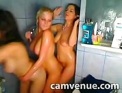Dank triune lesbo shower enjoyment close to university dorm insusceptible to webcam
