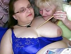 Heavy granny coupled with grey granny masturbating