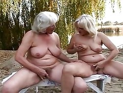 Agreeable of a female lesbian grannies mechanical pussy divertissement not at home