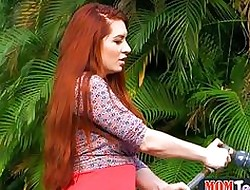 Pushy property redhead MILF licks a undersized teen pussy alfresco