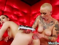 Tattooed lesbo licks arse