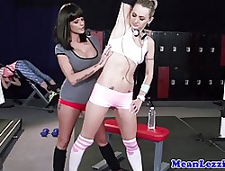 Full-grown tattooed lezdom toying gym babes nuisance
