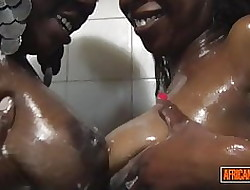 2 Scalding Unscrupulous Babes foreigner Ghana Fondling added to Swept off one's feet Fro Shower