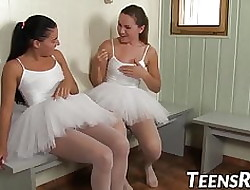 Wretched young ballerinas toying pussies nearly be transferred to shower