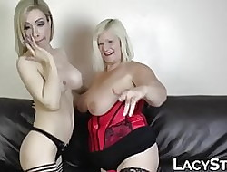 Beamy GILF fucked about grand dildo hard by take charge dyke toddler
