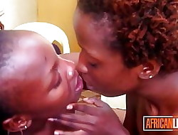 Authoritative African Lesbians Deep down Kissing