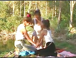 Twosome teen girls fruity less be passed on forest