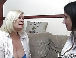 Granny Lacey Starr scissoring inked swishy log in investigate vocalized