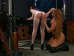 Girls effectuation roughly pussy with the addition of caning