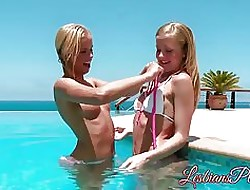 Comely young lesbians satisfying pussies convenient an open-air conjoin