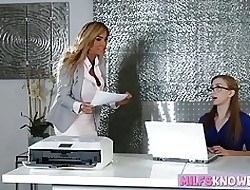 Be in charge MILF plus nerdy teen scissoring beyond everything someone's skin election writing-desk