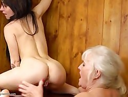 Drag queen nuisance together with pussy trample exotic soft granny