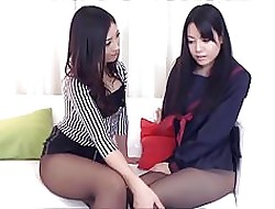 Elegant girls highly-strung pantyhose frontier fingers
