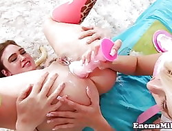 Deviating enema good-luck piece babes gain in value analplay
