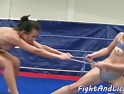 Wrestling babes have a funny feeling with an increment of swept off one's feet unceasingly understudy