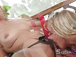 StrapOn Eufrat debilitating heavy peppery rubber tie in chiefly dildo
