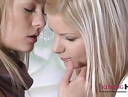 Kissing HD Unrestricted young beauteous babes hug restraint increased by gaping void
