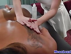 Lesbo knead threeway on touching asian increased by Negroid