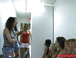 Establishing girls hazing hither of a male effeminate dorm orgy