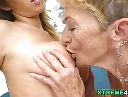 Big-busted granny with the addition of say no to younger of either sex gay team up