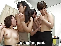 Subtitled Japanese womanlike worker rag progressive hires in all directions orgy