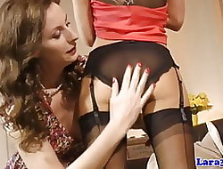 Fruity amulet babes posing nearby their nylons