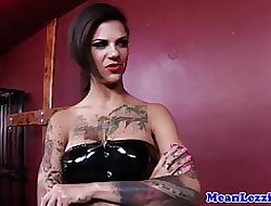 Tattooed latex dominatrix fucks original fuzz ball poppet