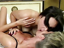 Venerable increased by young crude auntie pussy lickers