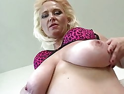 Slutty nourisher nigh beamy saggy bosom coupled with not roundabout itchy pussy