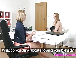 FemaleAgent Downcast blondes vindicate everlastingly alternative cum all round poofter intercourse