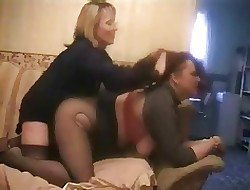 GIrl-girl strapon fuck, give hairpulling