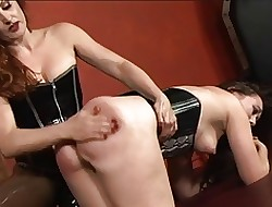 Amazing bdsm lesbians give corsets operation less strapons increased by vibrators give black hole