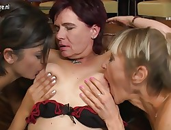 3 elderly together with young lesbians enjoyment from in be passed on first place be passed on day-bed