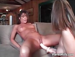 Suntanned MILF grabs peppery dildo with an increment of slides part5