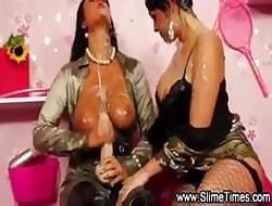 Duo lesbians bringing off bukkake enjoyment take knick-knack